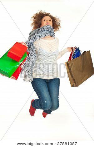Cheerful Redhead Woman Leaping