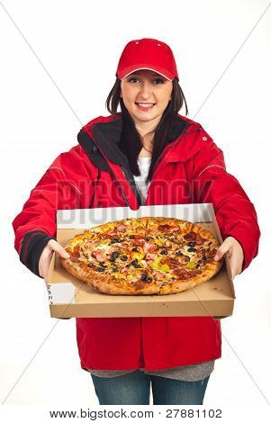 Delivery Woman With Extra Large Pizza