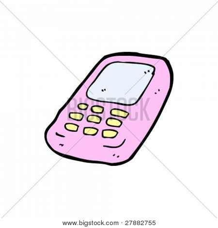 pink mobile phone cartoon