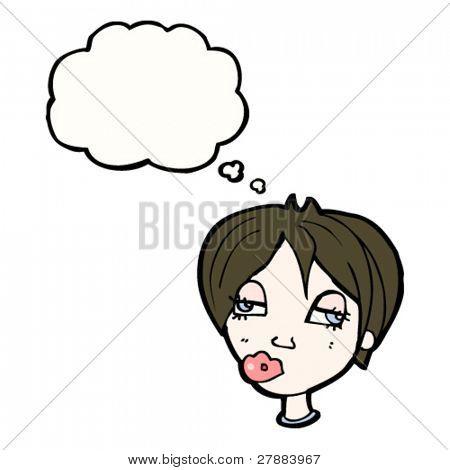 cartoon confused female head thinking