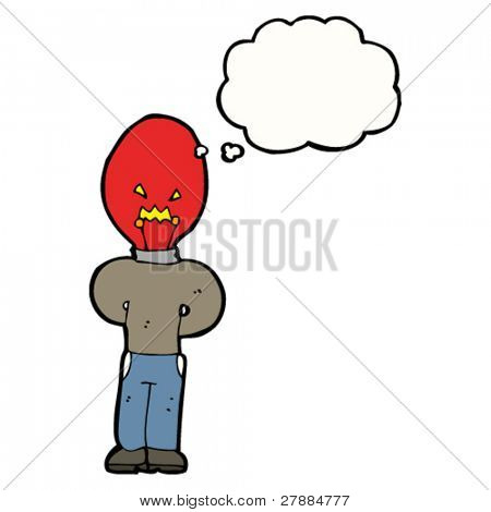 cartoon red light bulb head man thinking
