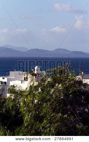 Playa Blanca and Fuerteventura ( in the Background ) , Lanzarote ,Spain