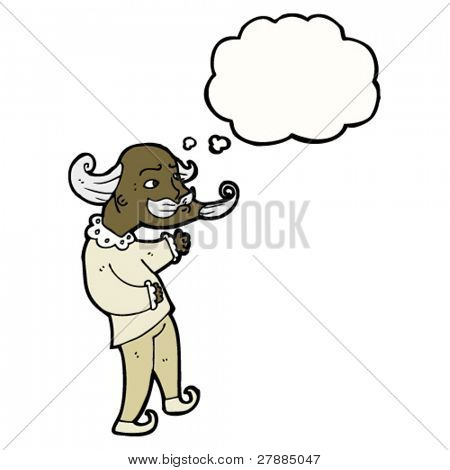 cartoon old playwright with thought cloud