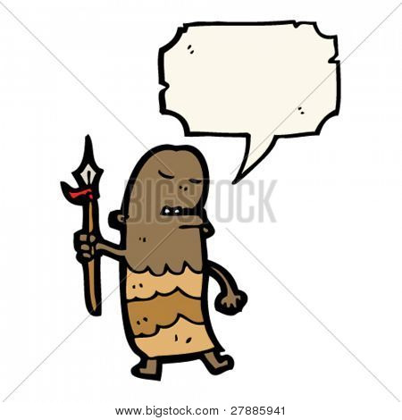cartoon tribesman with speech bubble
