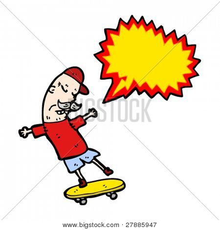 cartoon old man doing extreme sports