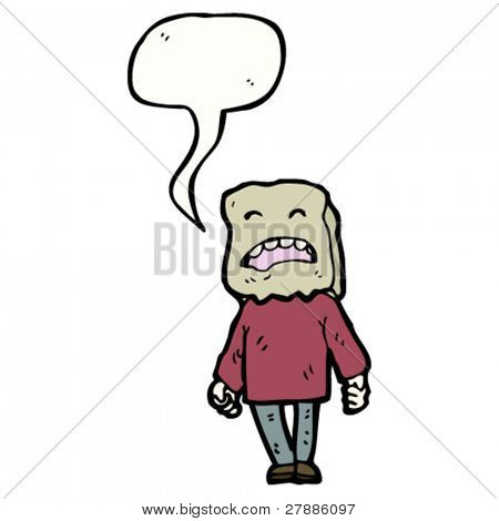 cartoon ugly man with bag on head and speech bubble