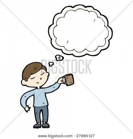 homem dos desenhos animados com a caneca de café e pensamento bolha