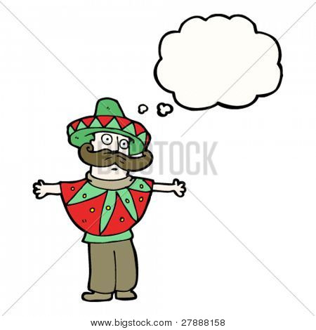 cartoon man in stereotype mexican costume