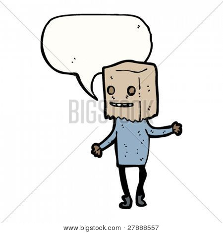 cartoon ugly person with bag on head