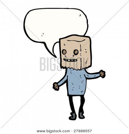 Cartoon hässlichen Person mit Tasche auf Kopf