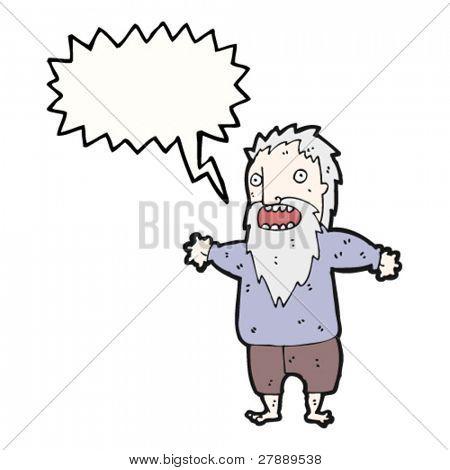 cartoon crazy old man