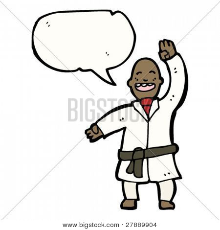 cartoon karate black belt man