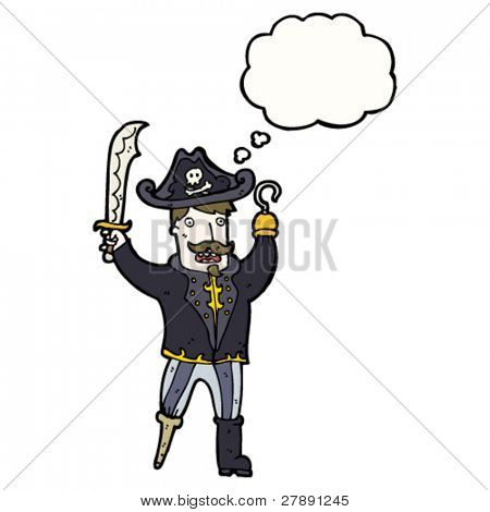 cartoon pirate captain with hook and peg leg