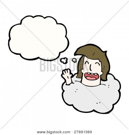 cartoon happy head in clouds with thought bubble