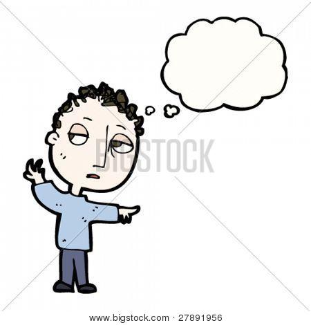 muchacho triste de dibujos animados señalando la manera
