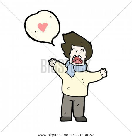 cartoon man exclaiming his love