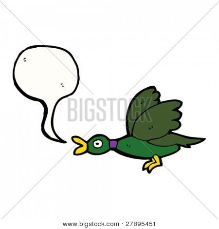 cartoon flying duck quacking