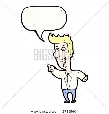 Cartoon Mann zeigen und lachen