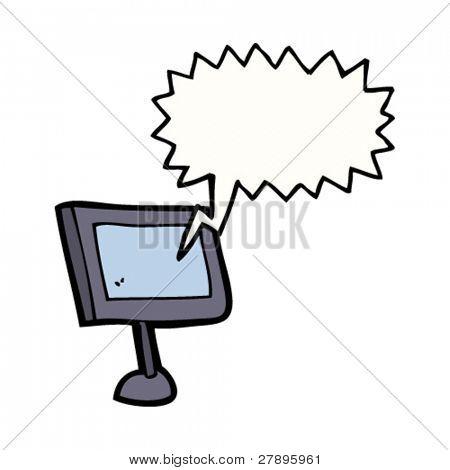 cartoon computer screen with speech bubble