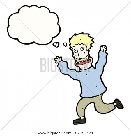 cartoon blond mustached man running away with thought bubble