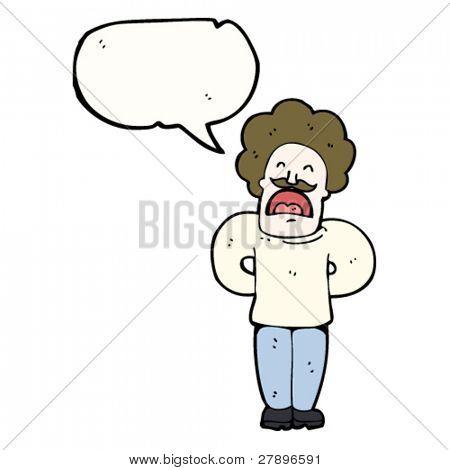 cartoon mustache man talking
