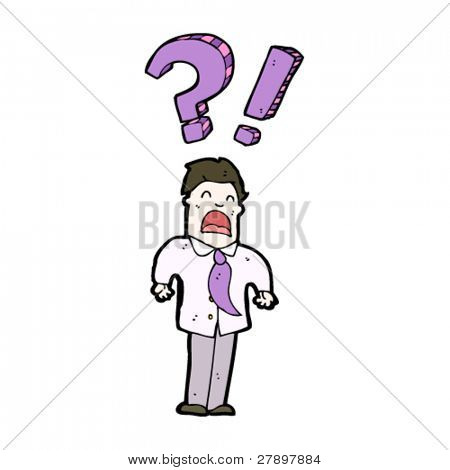 cartoon confused businessman