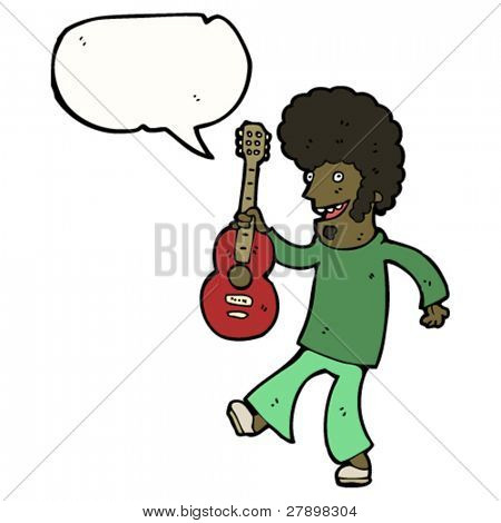 cartoon guitar player with speech bubble
