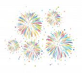 Vector Fireworks Background For Christmas, 4th Of July, Carnival And Holiday Illustrations. Colorful poster