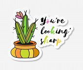 Sticker With Cactus In Pot With The Inscription You Are Looking Sharp. Colored Funny Cute Cactus Wit poster
