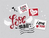 Lettering Love Mail In The Form Of Postage Stamp Postage Stamps With Phrases About Love: True Love,  poster