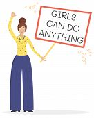 Vector Feminist Illustration. Girl Power Poster. Girls Can Do Anything. International Womens Day. poster