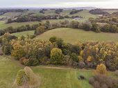 Stunning Aerial Drone Landscape Image Of Stunning Colorful Vibrant Autumn Fall English Countryside L poster