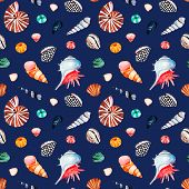 Underwater Creatures.watercolor Seamless Pattern With Multicolored Seashells.dark Background.perfect poster