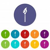 Burning Match Icon. Simple Illustration Of Burning Match Icon For Web poster