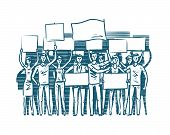 Crowd Of People Protesters. Manifest, Protest Concept. Sketch Vector Illustration poster
