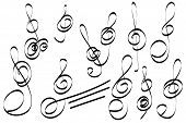 Set Of Hand Drawn Scribble  Treble Clefs. Collection Of Abstract Treble Clefs In Doddles Style. Desi poster