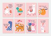 Valentines Day Cute Animals Set With Llama, Sloth, Unicorn, Cats, Dinosaur, Bunny, Tiger And Turtle poster
