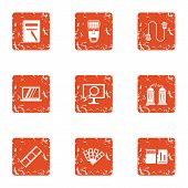 Data Movement Icons Set. Grunge Set Of 9 Data Movement Icons For Web Isolated On White Background poster