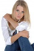 picture of button down blouse  - Casual head shot of a beautiful blonde in jeans and a white button down blouse - JPG