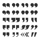Quotes Marks. Quotation Marking Speech Punctuation Excerpt Commas Double Comma. Remark Button Vector poster