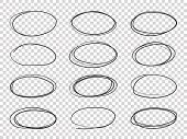 Doodle Circles. Hand Drawn Ellipse, Circular Highlights Old Pencil Sketch Vector Isolated Set poster