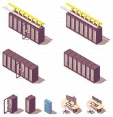 Vector Isometric Data Center Or Server Equipment. Server Racks Rows, Rack With Open Door And Adminis poster
