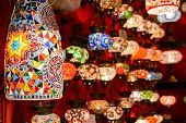 Beautiful Lamps In Grand Bazaar, Istanbul, Turkey. Panorama Of Colorful Oriental Gifts. Stained Glas poster