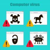 Set Of Icons On The Theme Of Computer Viruses, Trojan Horse, Castle, Virus, Skull On The Internet Pa poster