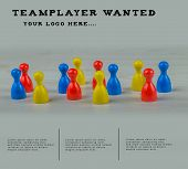 Concept For Recruitment New Employee For Your Team. Multicolored Characters On A Desk. Template With poster