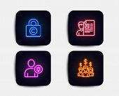 Neon Glow Lights. Set Of Job Interview, Copyright Locker And User Idea Icons. Salary Employees Sign. poster