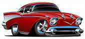 Classic Hot Rod 57 Muscle Car, Low Profile, Big Tires And Rims, Candy Apple Red, Cartoon Vector Illu poster