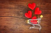 Valentines Day Shopping And Red Heart On Shopping Cart Love Concept / Shopping Holiday For Love Vale poster