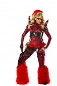 stock photo of flogger  - Sexy devil go go dancer in body paint - JPG