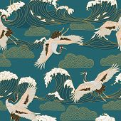 Japanese Storks In Vintage Style On Blue Background. Oriental Traditional Painting. White Stork. Jap poster